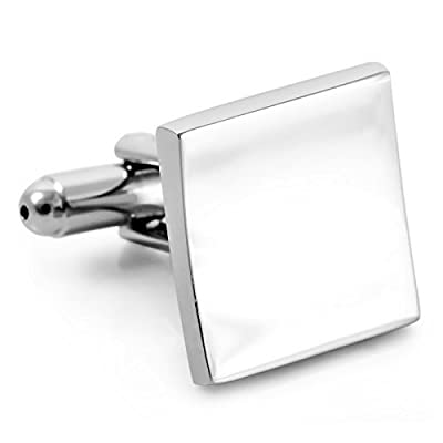 Men's Stainless Steel Cufflinks Silver Square Shirt Classic Polished