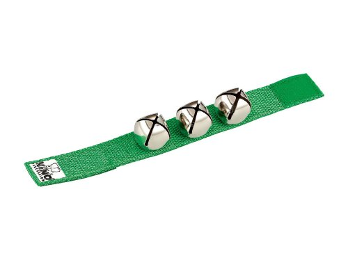 Nino Percussion NINO961GR 9-Inch Wrist Strap with 3 Bells, Green