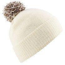 Beechfield B450 Snowstar Duo Beanie Hat Off White/Mocha by Beechfield