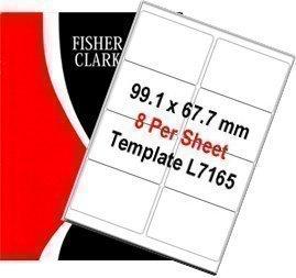 Fisher Clark étiquettes à adresse Blanc A4 100 planches/8 étiquettes Par feuille