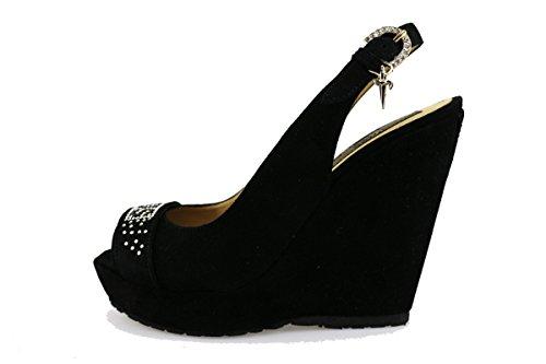 CESARE PACIOTTI 4US sandali donna nero camoscio strass AG44 (35 EU)