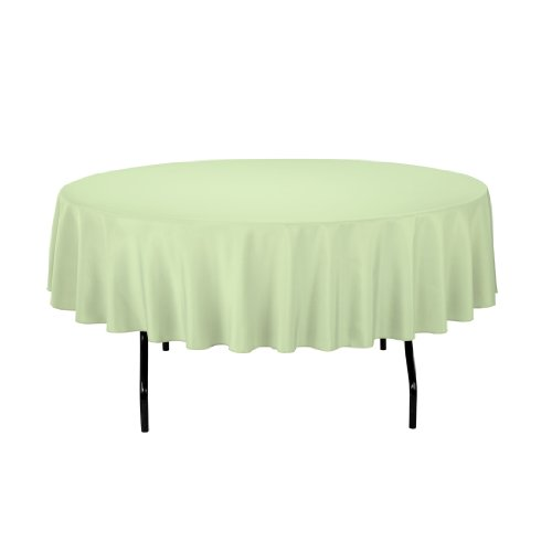Linentablecloth Round Polyester Tablecloth, 90-Inch, Reseda front-639914