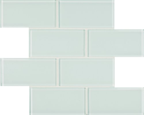 Arizona Tile 3 by 6-Inch Skylights Glossy Glass Tile on a 12 by 12-Inch Staggered Mesh, Arctic, 8-Pack