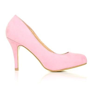 shuwish uk chaussures pearl rose p le faux daim stiletto haut talon classique rose p le faux. Black Bedroom Furniture Sets. Home Design Ideas
