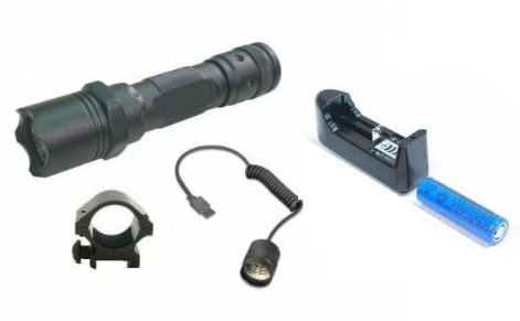 """Ultimate Arms Gear Tactical Rechargeable 130+ Lumens L.E.D Military Flashlight Led Tac - Light Kit For Remington 870/1187/11-87 12/20 Gauge Shotgun With A 7/8"""" Weaver-Picatinny Rail Includes: Weaver-Picatinny Ring Mount, Remote Pressure Switch Cord , Push"""