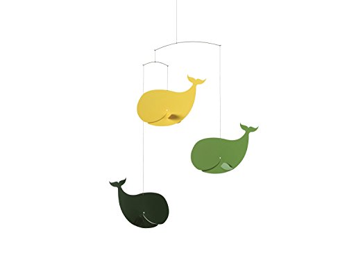 Happy Whales Green/Yellow Mobile by Flensted - 22-Inches - High Quality Plastic - Handmade in Denmark - 1