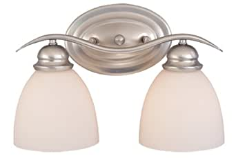 Vanity Lights Usa : Vaxcel USA ALVLD002BN Avalon 2 Light Bathroom Vanity Lighting Fixture in Nickel, Glass ...