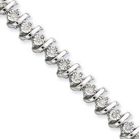 Sterling Silver Rough Diamond Tennis Bracelet - JewelryWeb