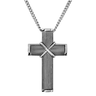 Gold Tone Cross Pendant In Stainless Steel