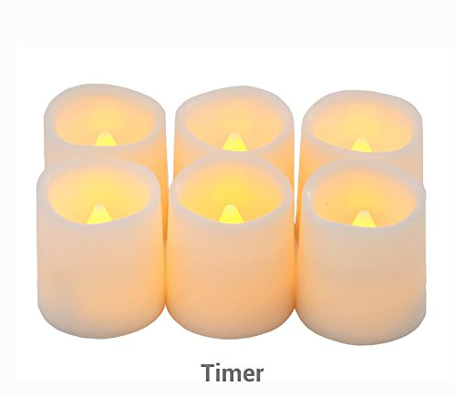 Timer Flameless Candles By Festival Delights - Premium IC-controlled Soft Flickering Votive Battery Operated Candles, 70+ Hours of Lighting, 5H Timer, Battery included, Dia. (Led Candle Lights)
