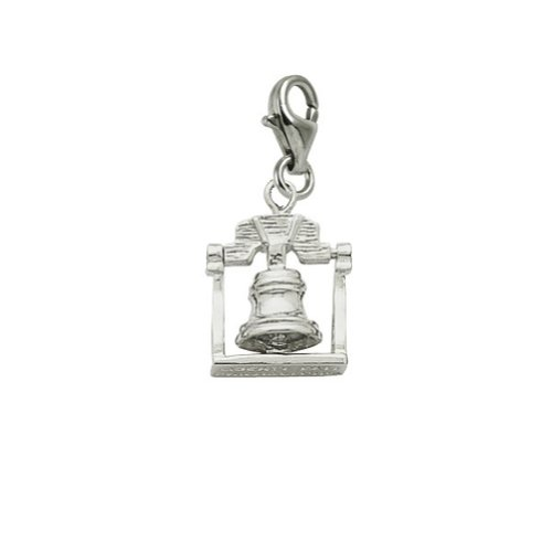 14K White Gold Liberty Bell Charm With Lobster Claw Clasp, Charms For Bracelets And Necklaces