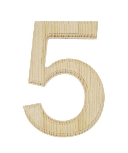 darice 0992 5 decorative wood number 5 6 inch home. Black Bedroom Furniture Sets. Home Design Ideas
