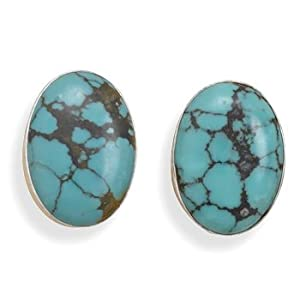 Sterling Silver 25mm X 17mm Oval Created Turquoise Clip-on Earrings - JewelryWeb
