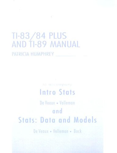Intro STATS and STATS: Data and Models TI-83/84 Plus and TI-89 Manual