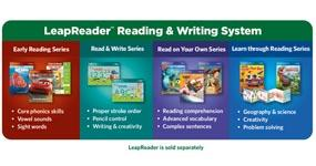 The LeapReader library includes 150+ books, audio books, flash cards, learn-to-write sets and more!