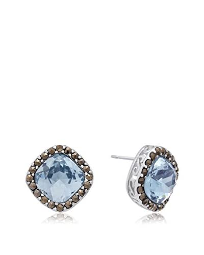 Adoriana Platinum-Plated Created Aquamarine & Marcasite Halo Stud Earrings