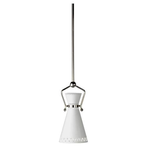 Robert Abbey W694 Mini Pendants with Powder Coat White Metal Shades, Silver Finish