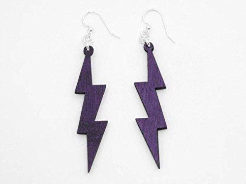 [Purple Lightning Thunder Bolts Wooden Earrings Jewelry] (Thunder Lightning Costume)