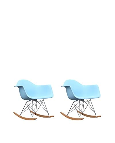 Manhattan Living Set of 2 Rocker Arm Chairs, Light Blue