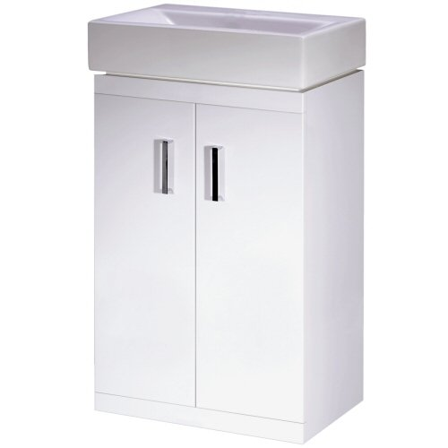 450mm Modern Floor Standing White Gloss Vanity Unit with Ceramic Basin - Checkers