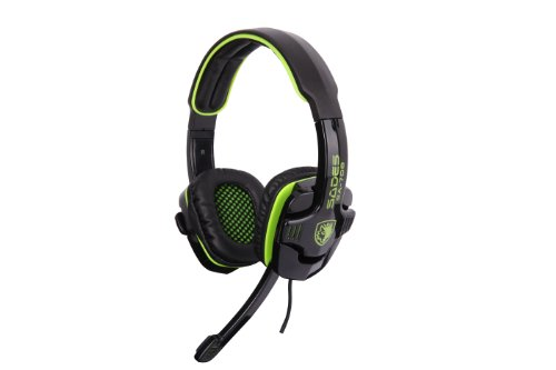 Sades Sa-708 Gaming Headset With Mic & Remoter(For Volume And Mic), Over-Ear Headset (Black+Green)