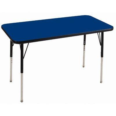 Ecr4kids 30 x 48 rectangular activity table standard legs w ball glides blue top black edge - Table glides for legs ...