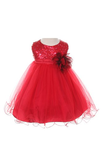 Sequin & Tulle Special Occasion Holiday Dress - Red Baby L (12-18 Month) front-968364