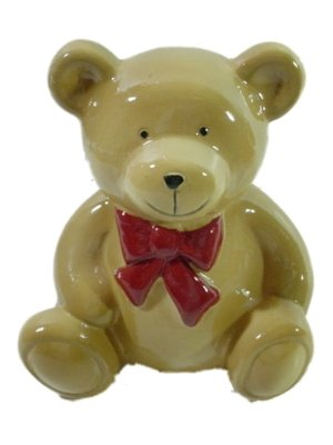 Smiling Bow-Tied Teddy Bear Piggy Bank 4-3/4 Inches Tall