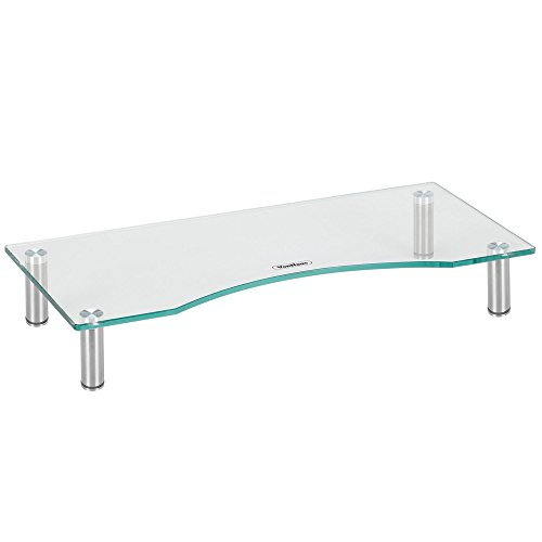 VonHaus Curved Glass Monitor Stand - Adjustable Height Multiple Screen Riser for PC Monitors, Computers, Laptops & TVs - 22