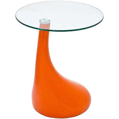 Modern Contemporary Glass Side Table Orange