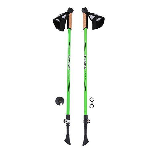 1 Pair Walking Sticks Adjustable Anti Shock HikingTrekking Walking Poles Alpenstock - Green (Black Diamond Raven Ice Axe compare prices)