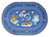 "Joy Carpets Kid Essentials Infants & Toddlers Oval Hey Diddle Diddle Rug, Blue, 3'10"" x 5'4"" - 1"