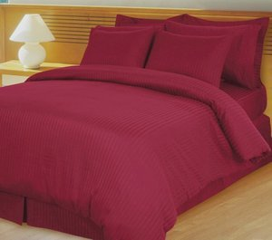 Burgundy Damask Stripe Down Alternative 4-pc