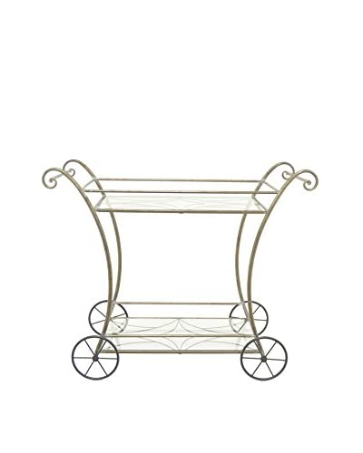 Three Hands Scroll Metal Bar Cart, Gold