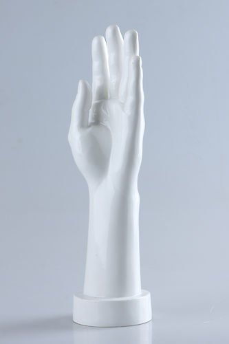 Brand New Free Standing Fiberglass Realistic Female Mannequin Left Hand Jewelry Display Glossy White (D5)