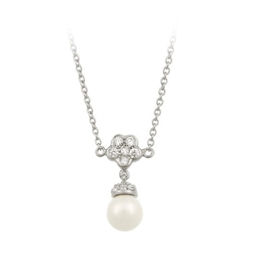 Sterling Silver Created Pearl with Flower Cubic Zirconia Top Necklace, 16