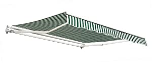 "8ft 2"" Sunland Budget Manual Awning - Green and White"