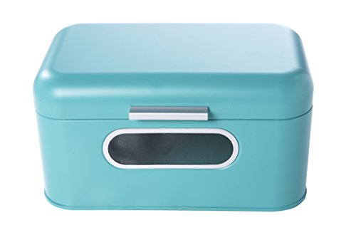 Bread Box For Kitchen - Bread Bin Storage Container For Loaves, Pastries, and More 12 x 7.25 x 6.25 Inches, Teal by Juvale (Bread Enamel compare prices)