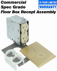Leviton 25349-Fba 20-Amp, 125-Volt, Floor Mounting Duplex Receptacle, Straight Blade, Commercial Grade, Self Grounding, Ivory