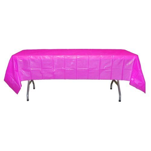 Magenta Plastic Table Cover (54in. W. X 108in. L)