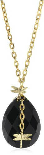 Privileged NYC Onyx Quartz Dragonfly Charm Cable Chain Necklace, 30