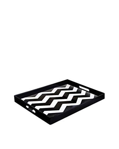 Jay Imports Chevron Tray, Black/White