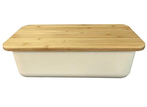 Clean Dezign Bamboo Fiber Bread Box Bin with Cutting Board Lid (Natural White) (Foldable Pasta Spoon compare prices)