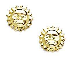 14k Yellow Gold Sun Stamping Earrings - Measures 8x8mm - JewelryWeb