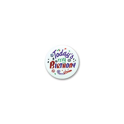 "Today's My Birthday Satin Button 2"" Party Accessory - 1"