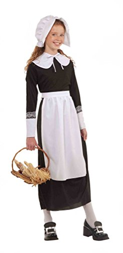 [Popcandy Pilgrim Girl Costume Kit Child Bonnet Collar Cuffs Apron Quaker Amish 65727] (Quaker Costumes)