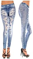 ECOSCO Women Punk Ripped Effect Denim Fake Jeans Legging Tregging Tight BLUE