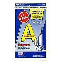 Hoover 4010100A Type A Allergen Filtration Vacuum Bags 3 Bags Per Pack (Pack of 3) Total 9 Bags