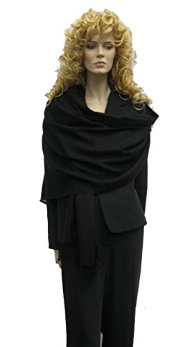 Cashmere Pashmina Group: Solid Pashmina Shawl, Scarf, Wrap & Stole (Large size) Black (Extra Wide Pashmina compare prices)