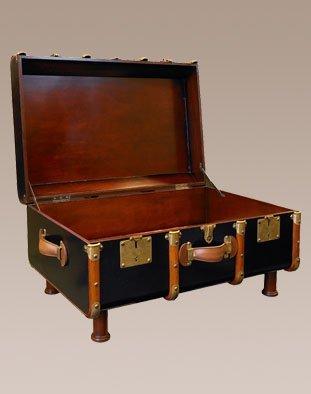 Stateroom Trunk In Black - 1930S Travel Replica - Features Solid Wood With Brass Maple And Dark Walnut Wood Accents - Authentic Models Mf040B
